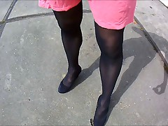 walking sissy on heels