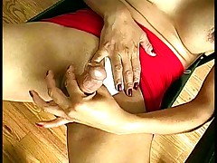 Skanky shemale gets her tits and cock sucked