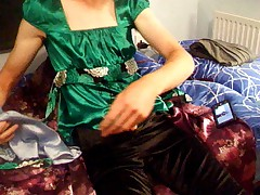 cumming on green satin top #2