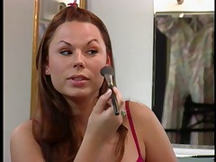 Big tits chick showing how to apply make-up