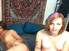 Teen shemales fuck on webcam