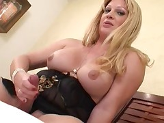 Blonde Tranny Jacks Off