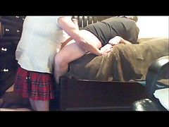 schoolgirl Lisa sucks cock